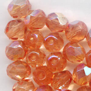 27001713 Firepolish - 6 mm Faceted Round - Dark Orange AB (25)