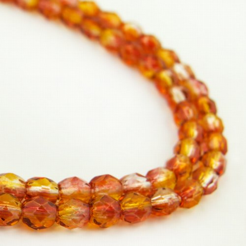 27001750-06 Firepolish - 4 mm Faceted Round - Fireopal (50)