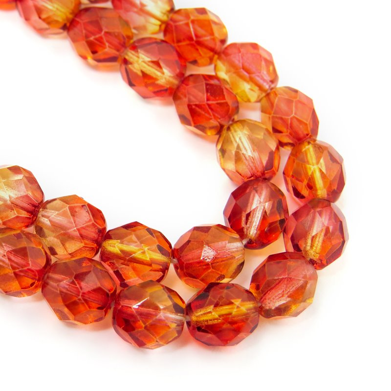 27001752-10 Firepolish - 8 mm Faceted Round - Hot Lava (25)