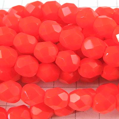 27001780-07 Firepolish - 6 mm Faceted Round - Opaque Emergency Orange (strand 25)