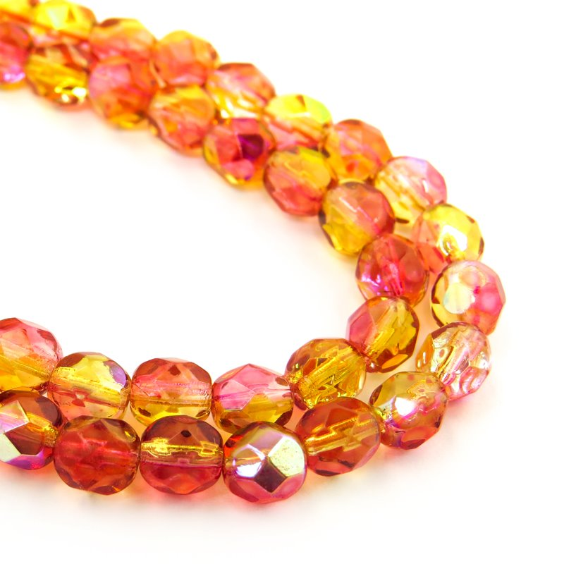 27006172 Firepolish - 6 mm Faceted Round - Apples n Oranges AB (29)