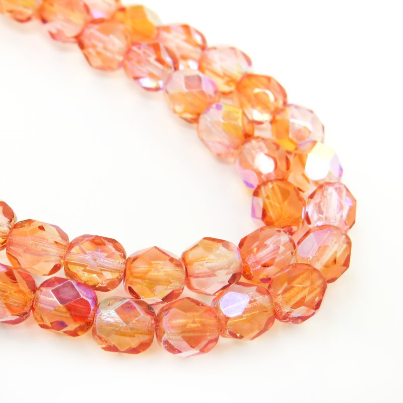 27006180 Firepolish - 6 mm Faceted Round - Mandarine Rose AB (29)