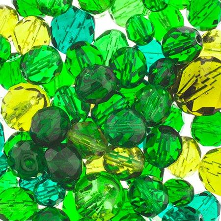 27098000-34 Bead Mix - Firepolish Mix - Greens (50 g)