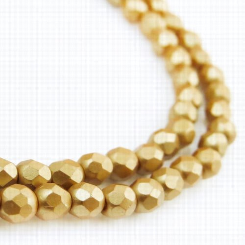 27099000-02 Firepolish - 4 mm Faceted Round - Pearl Pastel Wheat (strand 45)