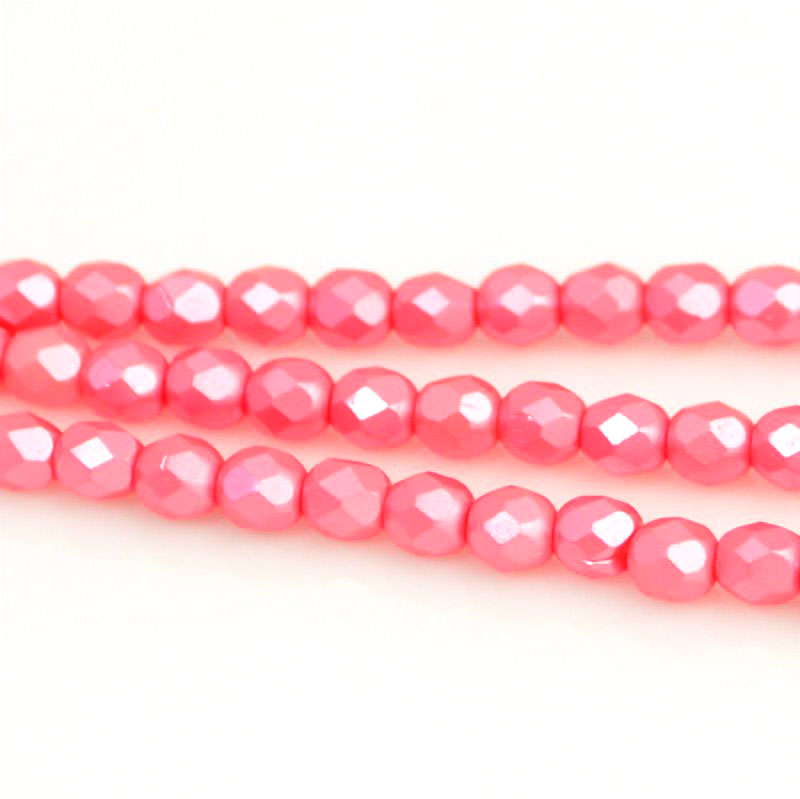 27099000-03 Firepolish - 4 mm Faceted Round - Pearl Pastel Strawberry Pink (strand 45)