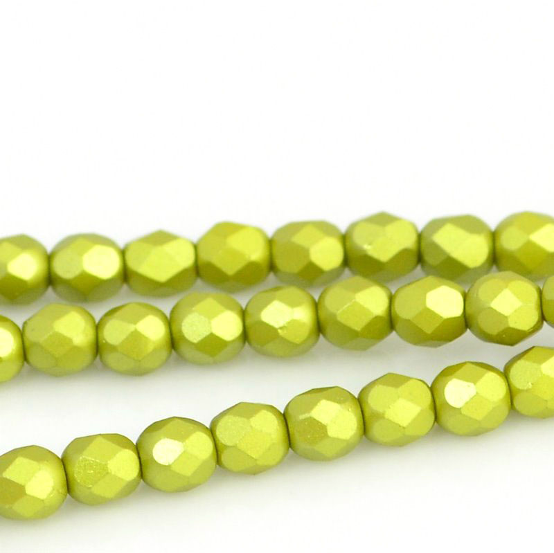 27099000-10 Firepolish - 4 mm Faceted Round - Pearl Pastel Khaki (strand 45)