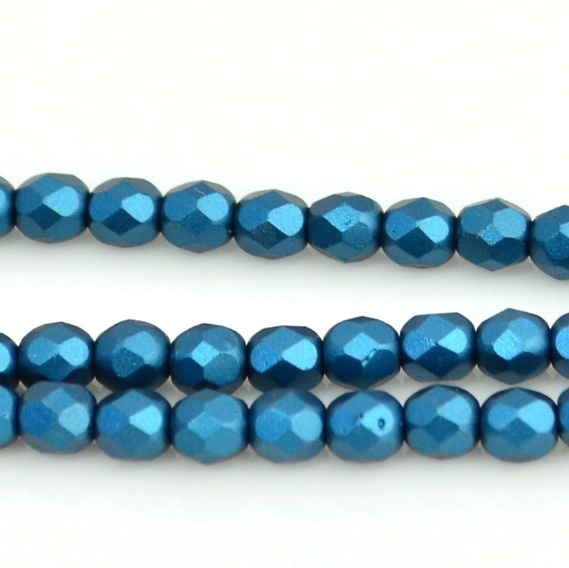 27099000-14 Firepolish - 4 mm Faceted Round - Pearl Pastel Petrol Blue (strand 45)