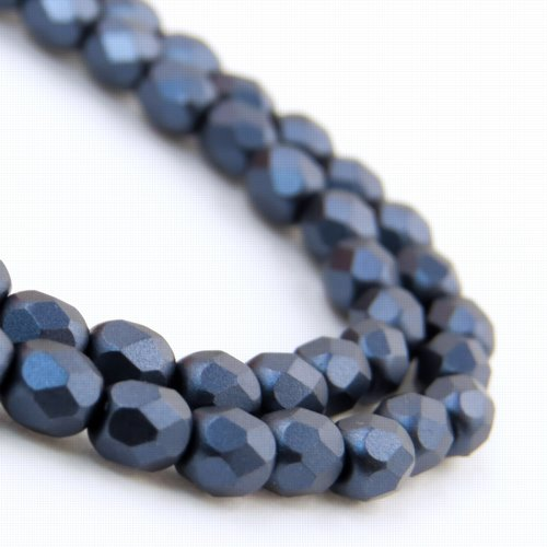 27099000-18 Firepolish - 4 mm Faceted Round - Pearl Pastel Navy Blue (strand 45)