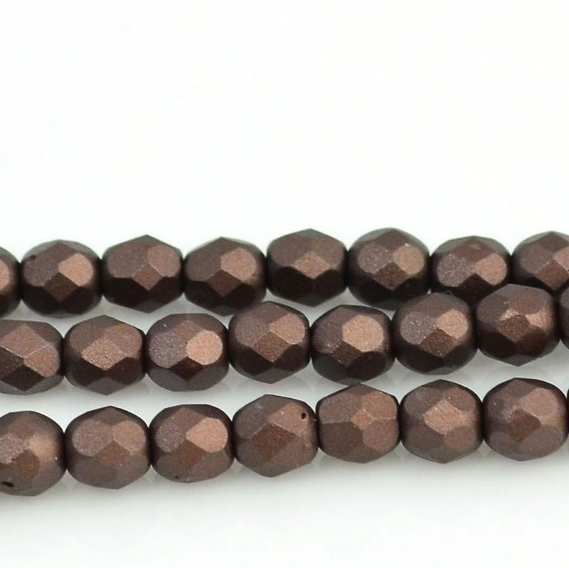 27099000-22 Firepolish - 4 mm Faceted Round - Pearl Pastel Chocolate Brown (strand 45)