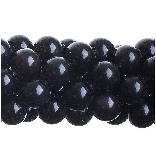 27600611-03 Stone Beads - 10 mm Round - Obsidian (strand)