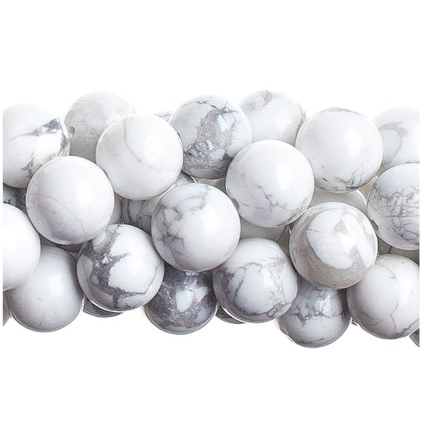 27600620-03 Stone Beads - 10 mm Round - White Howlite (long strand)