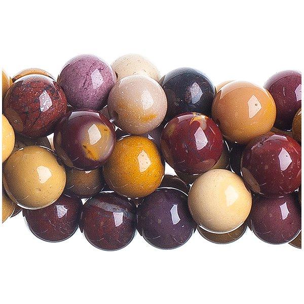 27600629-03 Stone Beads - 10 mm Round - Mookaite Jasper (strand)