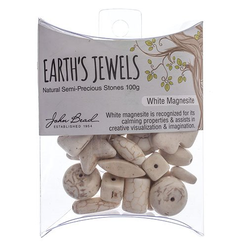 27600650-07 Stone Beads - Assorted Earths Jewels - White Magnesite Natural (Pack)