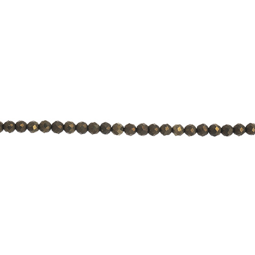 27600657 Stone Beads - 2mm Faceted Rounds - Pyrite (strand)