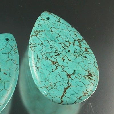 27629022 Stone Beads - Large Pear - Turquoise (Stabilized) (1)