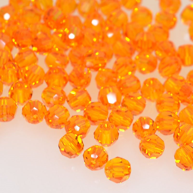 27750001247259 Swarovski Bead - 4 mm Faceted Round (5000) - Tangerine (Pkg 18)