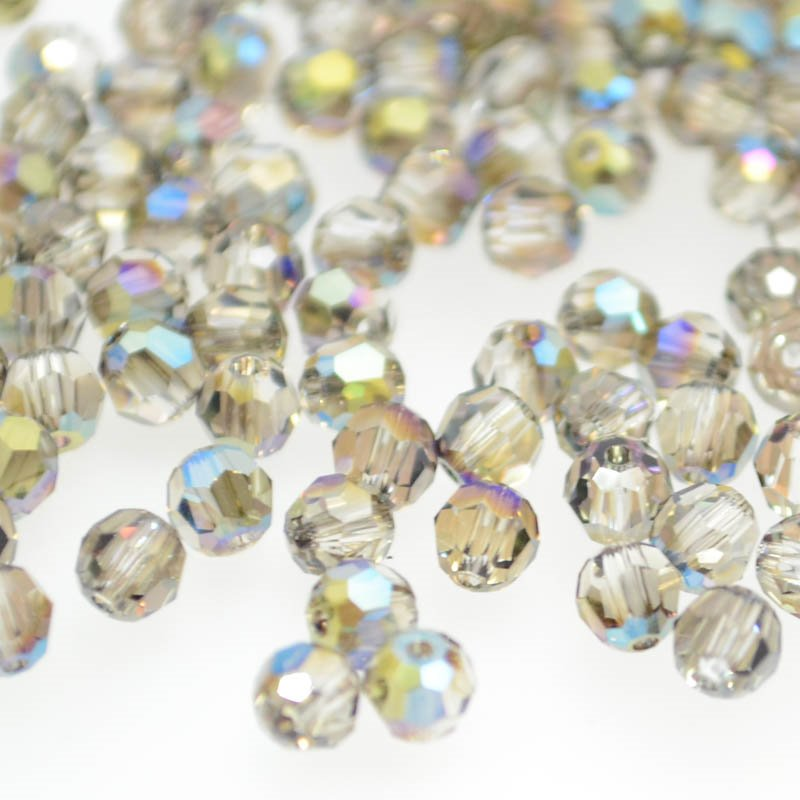 27750001452006 Swarovski Elements Bead - 4 mm Faceted Round (5000) - Crystal Iridescent Green (Pkg 18)