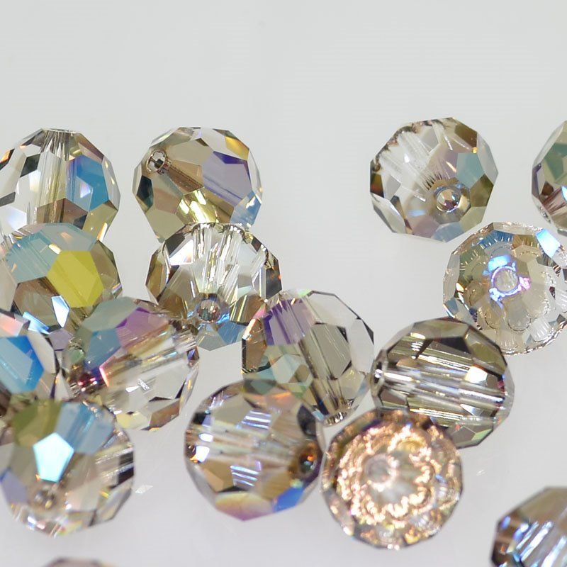 27750002700006 Swarovski Elements Bead - 10 mm Faceted Round (5000) - Crystal Iridescent Green (1)