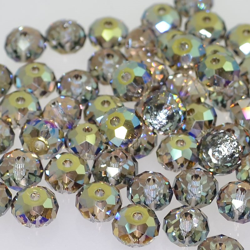 27750401018006 Swarovski Elements Bead - 6 mm Faceted Donut (5040) - Crystal Iridescent Green (1)