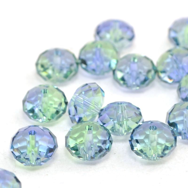 2775040s43277 Swarovski Bead - 8 mm Faceted Donut (5040) - Provence Lavender/Chrysolite Blend (1)