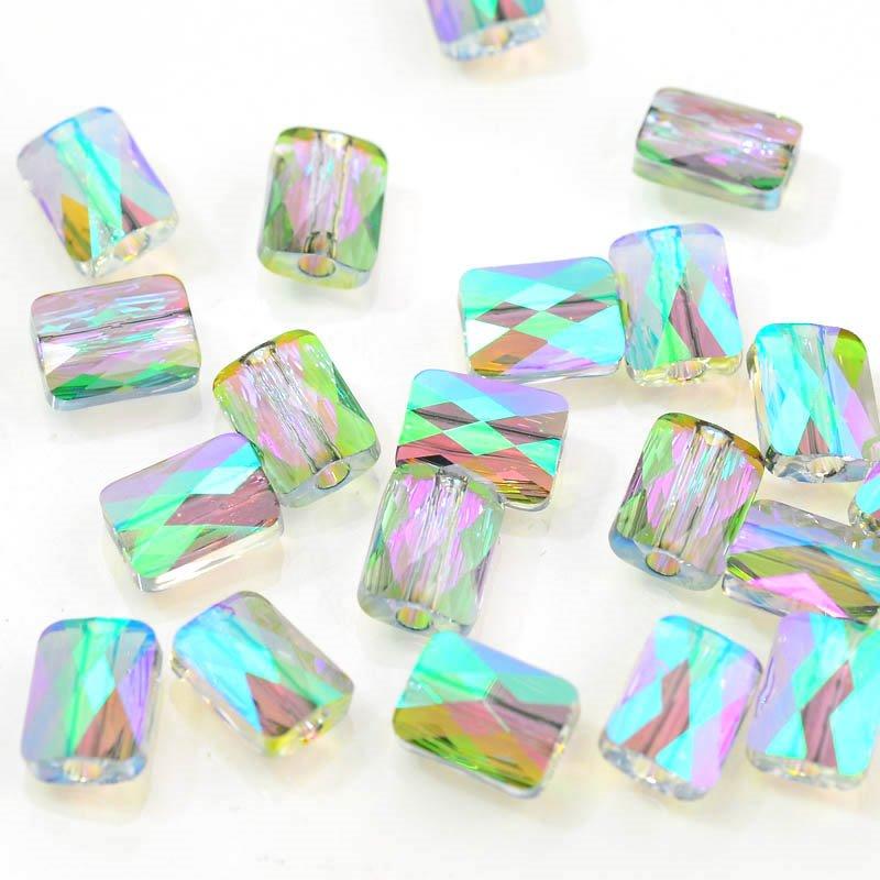 27750550020007 Swarovski Bead - 6 x 8 mm Mini-Rectangle(5055) - Crystal Paradise Shine (1)