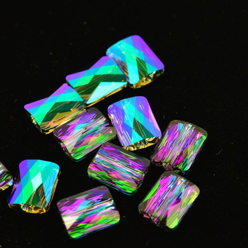 27750550060007 Swarovski Bead - 8 x 10 mm Mini-Rectangle (5055) - Crystal Paradise Shine (1)