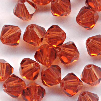 27753011355374 Swarovski Bead - 4 mm Faceted Bicone (5301) - Indian Red (36)