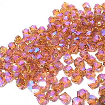 27753011496203 Swarovski Bead - 4 mm Faceted Bicone (5301) - Topaz AB2 (36)