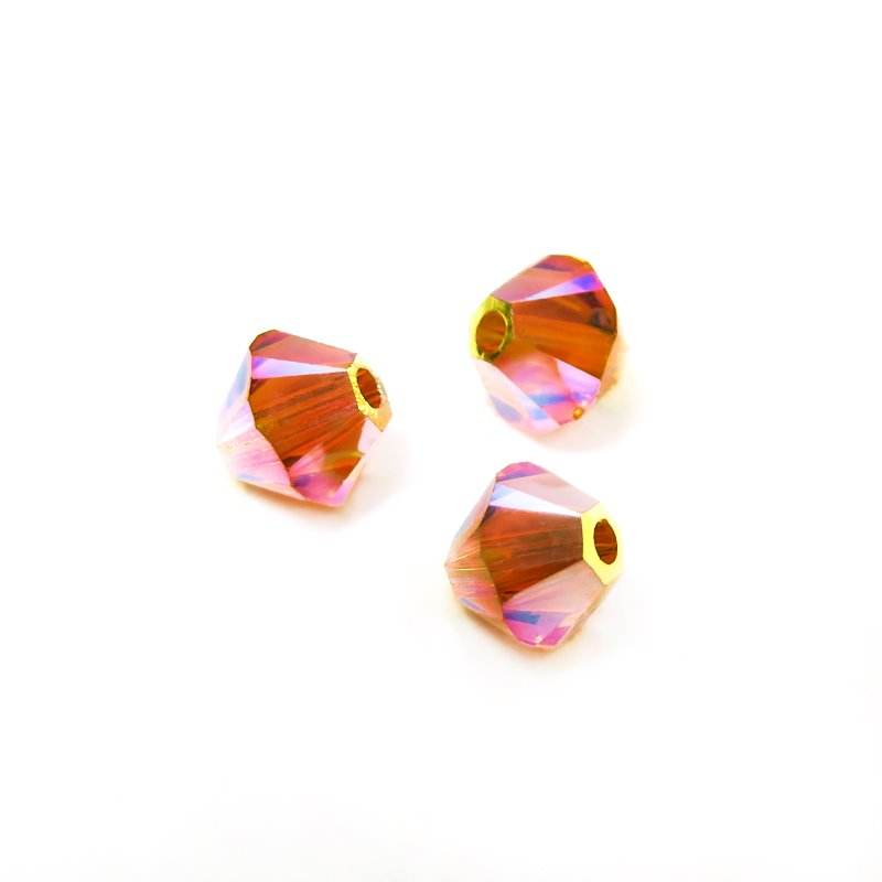 27753011525259 Swarovski Bead - 4 mm Faceted Xilion Bicone (5328) - Tangerine AB2 (36)