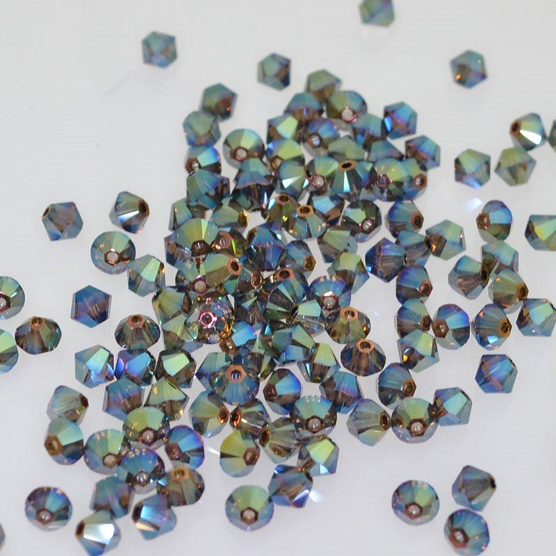 27753011563001 Swarovski Elements Bead - 4 mm Faceted Xilion Bicone (5328) - Crystal Iridescent Green 2X (36)