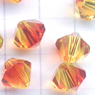 27753011991237 Swarovski Bead - 6 mm Faceted Bicone (5301) - Fireopal (1)