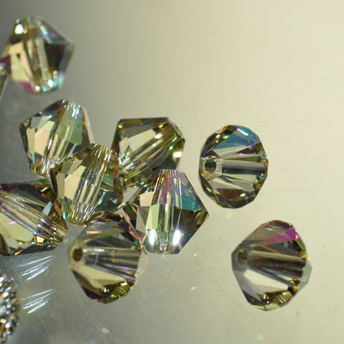 27753012363008 Swarovski Elements Bead - 8 mm Faceted Xilion Bicone (5328) - Crystal Luminous Green (1)