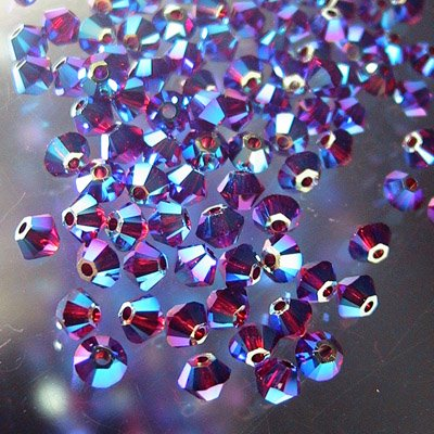 2775301s23395 Crystallized - Swarovski Elements Bead - 3 mm Faceted Xilion Bicone (5328) - Siam AB2 (36)