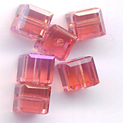 27756011092542 Swarovski Bead - 4 mm Faceted Cube (5601) - Padparadscha ABB (1)