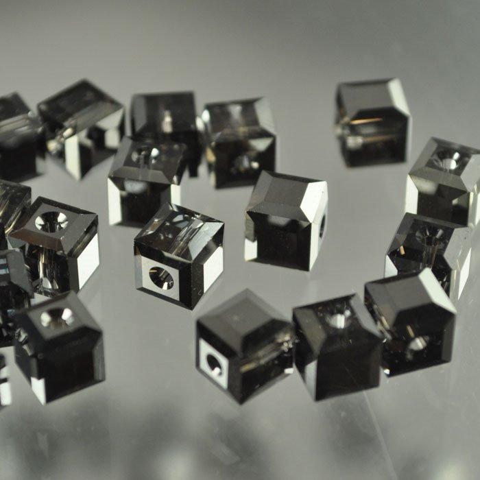 27756011174005 Swarovski Bead - 6 mm Faceted Cube (5601) - Crystal Silver Night