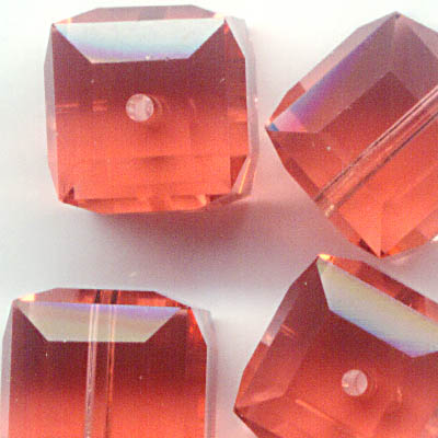 27756011376542 Swarovski Bead - 8 mm Faceted Cube (5601) - Padparadscha (1)