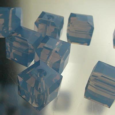 27756011397285 Crystallized - Swarovski Elements Bead - 8 mm Faceted Cube (5601) - Air Blue Opal (1)