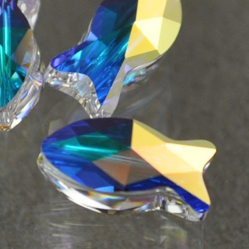 27757271020001 Swarovski Bead - 14 mm Fish (5727) - Crystal AB
