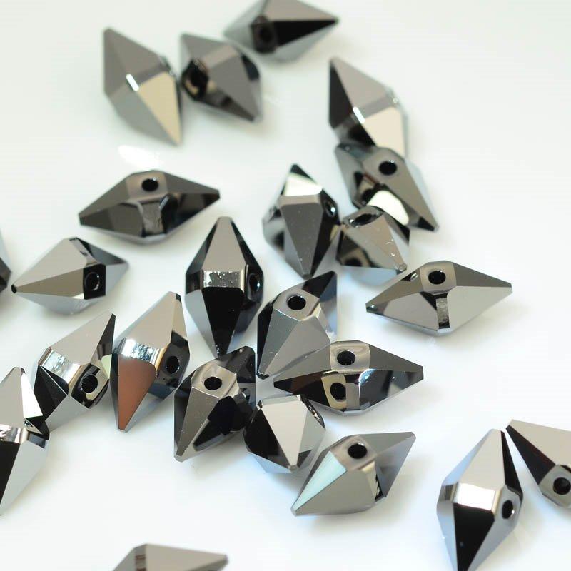 27757470040005 Swarovski Bead - 12 x 6 mm Double Spike Bead (5747) - Crystal Silver Night 2X (1)
