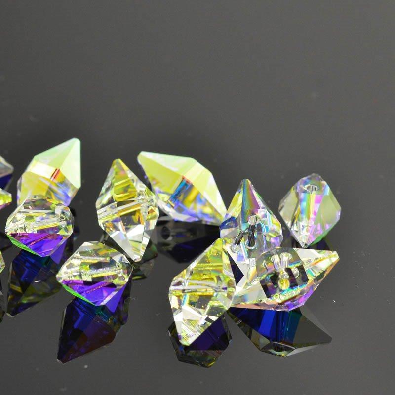 27757470070001 Swarovski Bead - 8 x 16 mm Double Spike Bead (5747) - Crystal AB (1)