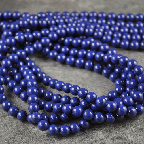 27758101096318 Swarovski Gemstone Pearl - 6 mm Round Pearl (5810) - Dark Lapis Pearl (strand 25)