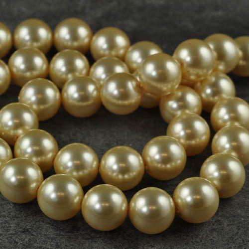 27758110060314 Swarovski Pearl - 14 mm Round Pearl (5811) - Light Gold Pearl (5)