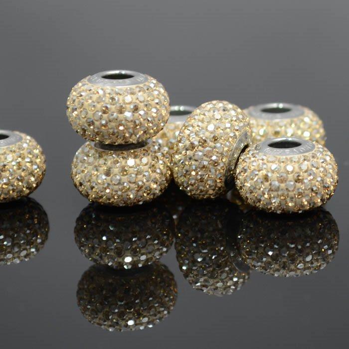 27780101001001 Swarovski Bead - 14 mm Becharmed Pave (8010) - Crystal Golden Shadow