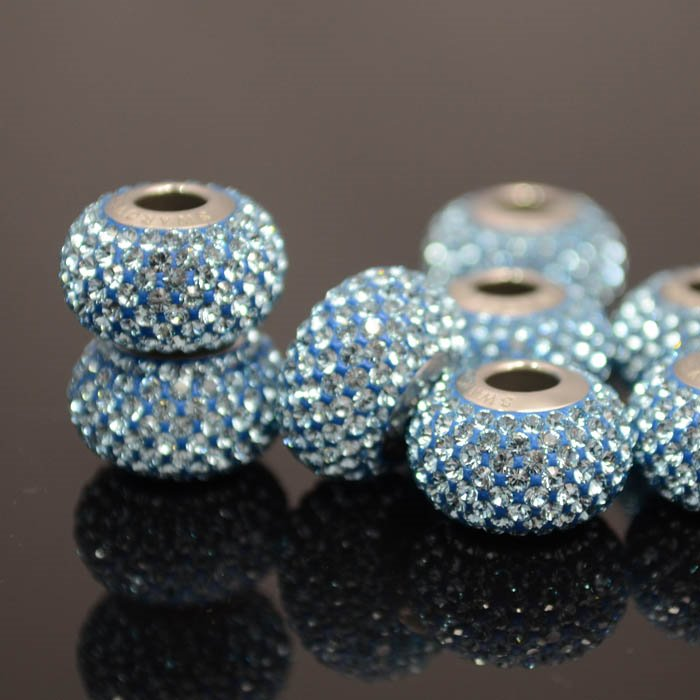 27780101015202 Swarovski Elements Bead - 14 mm Becharmed Pave (8010) - Aquamarine (1)