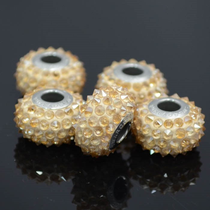 27780401001001 Swarovski Elements Bead -  Spikey Becharmed Pave (8040) - Crystal Golden Shadow (1)
