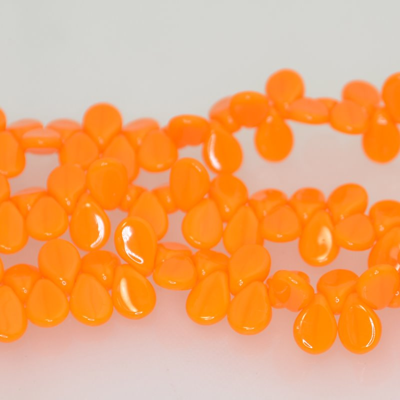 27800960-10 Shaped Glass - 5 x 7 mm Pip Beads - Orange Alabaster (strand)