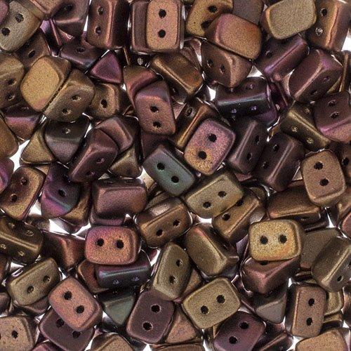 27801721-03b Czech Seedbeads - 2 Hole Trios - Bronze Violet Rainbow (300 pcs)