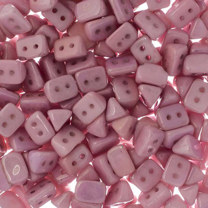 27801724-06 Czech Seedbeads - 2 Hole Trios - Pastel Rose Pink Lustre (tube)