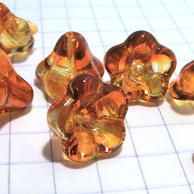 27802819-06 Glass Flowers - 11 x 13 mm Large Bellflower - Fire Opal (10)