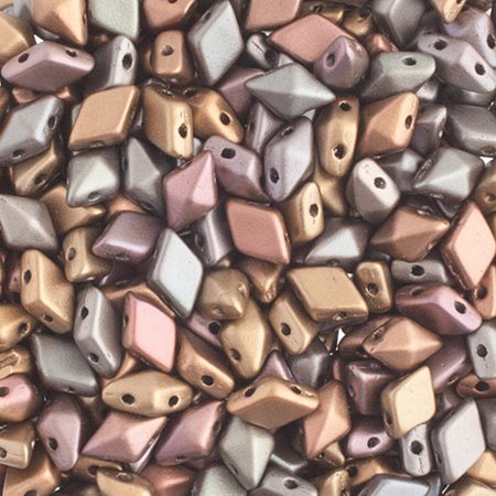 27888120-71 Czech Shaped Beads - 2 Hole DiamonDuo - Matte Zinc Iris